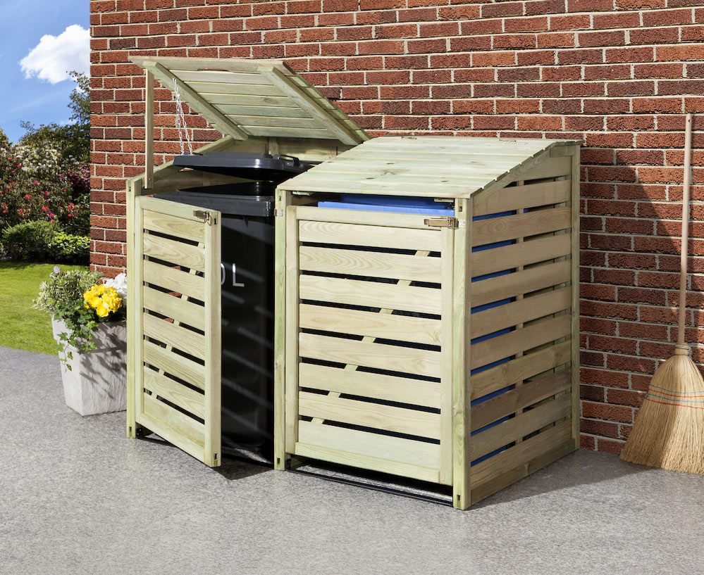 Mülltonnenverkleidung aus Holz für den Garten